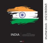 flag of india with  brush... | Shutterstock .eps vector #1421583065