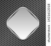 silver metallic plaque on metal ... | Shutterstock .eps vector #1421612018
