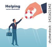 business helping concept. male... | Shutterstock .eps vector #1421621342