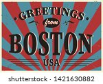 vintage touristic greeting card ... | Shutterstock .eps vector #1421630882