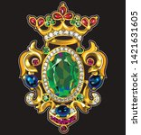 vintage brooch vector... | Shutterstock .eps vector #1421631605