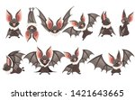 set of cartoon bat. cute... | Shutterstock .eps vector #1421643665