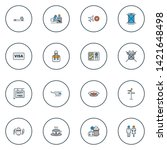traveling icons colored line... | Shutterstock . vector #1421648498