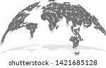 digital globe map with...   Shutterstock .eps vector #1421685128