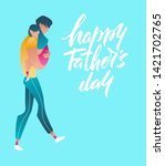dad holding his daughter on... | Shutterstock .eps vector #1421702765