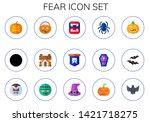 fear icon set. 15 flat fear...   Shutterstock .eps vector #1421718275