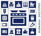 oven icon set. 17 filled oven... | Shutterstock .eps vector #1421719565