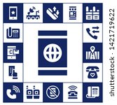 receiver icon set. 17 filled... | Shutterstock .eps vector #1421719622