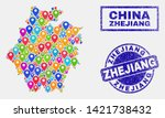 Vector colorful mosaic Zhejiang Province map and grunge stamp seals. Abstract Zhejiang Province map is composed from scattered colorful site pins. Seals are blue, with rectangle and rounded shapes.