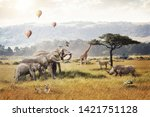 Stock photo kenya africa safari dream trip scene with wildlife animals together in a grassland field with hot 1421751128