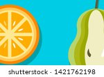 orange and pear. juicy fresh...   Shutterstock .eps vector #1421762198