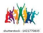 colorful happy group people... | Shutterstock .eps vector #1421770835