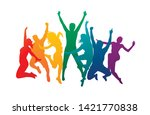 colorful happy group people... | Shutterstock .eps vector #1421770838