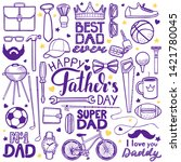 fathers day set. happy fathers... | Shutterstock .eps vector #1421780045