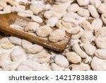 cook homemade gnocchi on the... | Shutterstock . vector #1421783888