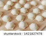 dumplings with minced meat...   Shutterstock . vector #1421827478