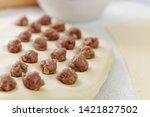 prepare homemade dumplings on...   Shutterstock . vector #1421827502