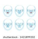 Stock photo yeti emoji set bigfoot sad and angry face abominable snowman guilty and sleeping avatar 1421899202
