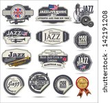jazz music stamps and labels | Shutterstock .eps vector #142191208