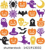 set of halloween icons. stamp... | Shutterstock .eps vector #1421913032