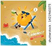 vintage summer poster design... | Shutterstock .eps vector #1421960375