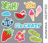 colorful stickers design with... | Shutterstock .eps vector #142197322
