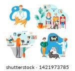 owners with pets in vet clinic... | Shutterstock .eps vector #1421973785