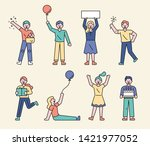 people who are doing various... | Shutterstock .eps vector #1421977052
