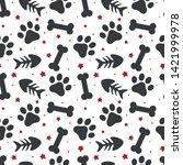 Stock vector pet paw fish bone and dog bone seamless pattern background animal vector illustration 1421999978