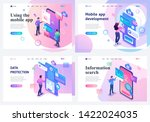 set isometric landing pages  a... | Shutterstock .eps vector #1422024035