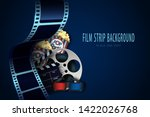 film reel  clapper board  3d... | Shutterstock .eps vector #1422026768