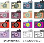 coloring set of cameras icon | Shutterstock .eps vector #1422079412