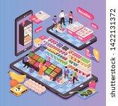 online supermarket isometric... | Shutterstock .eps vector #1422131372