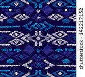seamless blue aqua aztec... | Shutterstock .eps vector #142217152