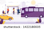 people standing at bus stop... | Shutterstock .eps vector #1422180035