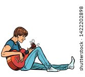 young teenager man plays... | Shutterstock .eps vector #1422202898