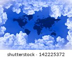 cloud and world map | Shutterstock . vector #142225372