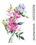 Watercolor Bouquet With Roses