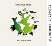 love you earth over white... | Shutterstock .eps vector #142244776