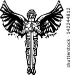 Archangel Michael in armor and sword in woodcut style image.