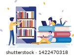 electronic book with library... | Shutterstock .eps vector #1422470318