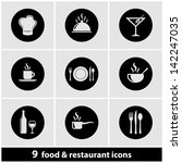 food   restaurant icon set | Shutterstock .eps vector #142247035
