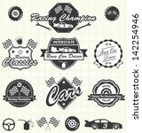 Vector Set: Retro Race Car Driving Champion Labels