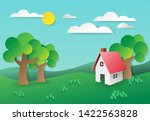 the house in natural... | Shutterstock .eps vector #1422563828