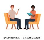 young men sitting in chair with ... | Shutterstock .eps vector #1422592205