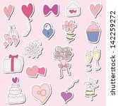 wedding vector sticker set | Shutterstock .eps vector #142259272