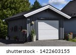 beautiful gray garage with one... | Shutterstock . vector #1422603155