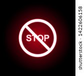 forbidden stop icon in red neon ...