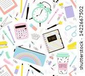school supplies cartoon vector...   Shutterstock .eps vector #1422667502