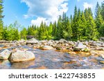 jizera river full of granite... | Shutterstock . vector #1422743855